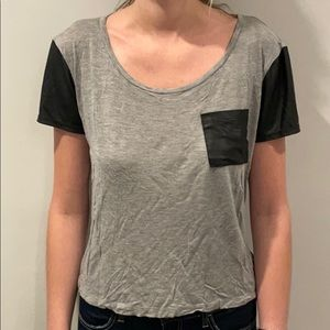 Forever 21 Gray Tshirt with Pleather Pocket/Sleeve